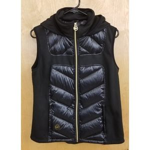 NWT Michael Kors Womena Black Down Vest Hoodie